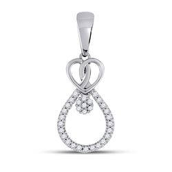 1/10 CTW Round Diamond Heart Teardrop Cluster Pendant 10kt White Gold - REF-9M6A