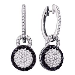1/2 CTW Round Black Color Enhanced Diamond Framed Cluster Dangle Earrings 10kt White Gold - REF-35W9