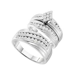 1 & 1/5 CTW His & Hers Round Diamond Cluster Matching Bridal Wedding Ring 14kt White Gold - REF-107M