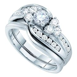 1 CTW Round Diamond Bridal Wedding Engagement Ring 14kt White Gold - REF-120T3K