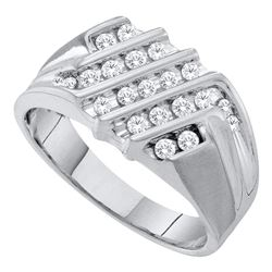 1/2 CTW Mens Round Diamond Stripe Cluster Ring 10kt White Gold - REF-39W6F