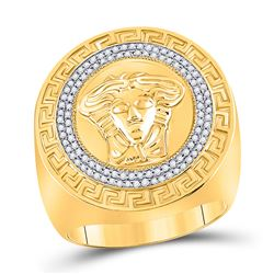 1/3 CTW Mens Round Diamond Medusa Face Greek Key Fashion Ring 10kt Yellow Gold - REF-69Y5X