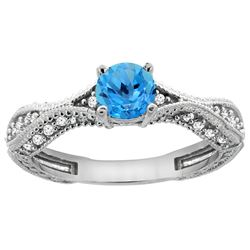 0.81 CTW Swiss Blue Topaz & Diamond Ring 14K White Gold - REF-67M8K