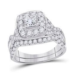 2 CTW Princess Diamond Bridal Wedding Engagement Ring 14kt White Gold - REF-225Y3X