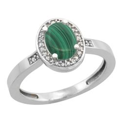 0.90 CTW Malachite & Diamond Ring 14K White Gold - REF-37K3W