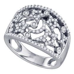 1/2 CTW Round Diamond Wide Star Pave-set Cocktail Ring 14kt White Gold - REF-45X6T