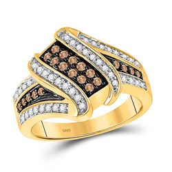 1/2 CTW Round Brown Diamond Crossover Ring 10kt Yellow Gold - REF-39F6M