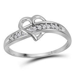 1/20 CTW Round Diamond Heart Ring 10kt White Gold - REF-7X5T