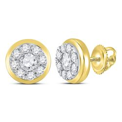 1 CTW Round Diamond Cluster Stud Earrings 14kt Yellow Gold - REF-95M9A