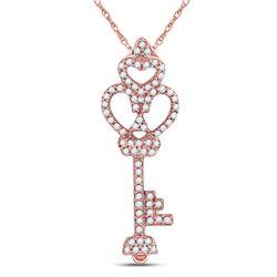 1/5 CTW Round Diamond Trefoil Heart Key Pendant 10kt Rose Gold - REF-14Y3X