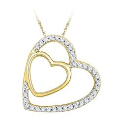 1/8 CTW Round Diamond Double Heart Pendant 10kt Yellow Gold - REF-9A6N