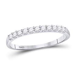 1/4 CTW Round Diamond Single Row Wedding Ring 14kt White Gold - REF-20M3A