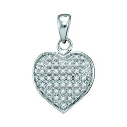 1/10 CTW Round Diamond Heart Cluster Pendant 10kt White Gold - REF-9M3A