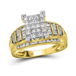 2 CTW Princess Diamond Cluster Bridal Wedding Engagement Ring 14kt Yellow Gold - REF-139A5N