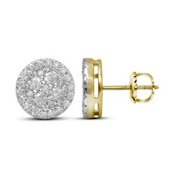1 & 1/2 CTW Round Diamond Cluster Stud Earrings 10kt Yellow Gold - REF-95F9M