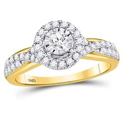 3/4 CTW Round Diamond Solitaire Bridal Wedding Engagement Ring 14kt Yellow Gold - REF-90W3F