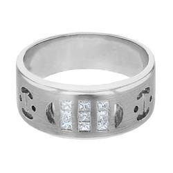 0.36 CTW Princess Diamond Ring 14K White Gold - REF-71F3N