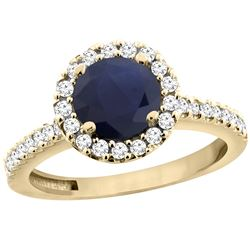 1.43 CTW Blue Sapphire & Diamond Ring 10K Yellow Gold - REF-110V4R