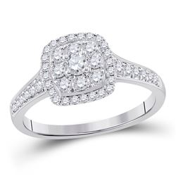 5/8 CTW Round Diamond Cluster Bridal Wedding Engagement Ring 14kt White Gold - REF-65M9A