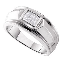 1/4 CTW Mens Princess Diamond Cluster Ring 14kt White Gold - REF-57R5H