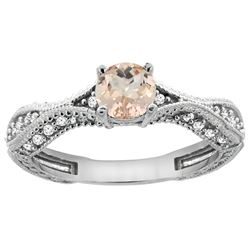 0.69 CTW Morganite & Diamond Ring 14K White Gold - REF-69X2M