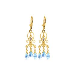 Genuine 4.81 ctw Blue Topaz & Diamond Earrings 14KT Yellow Gold - REF-46Z7N