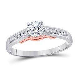 1/2 CTW Round Diamond Solitaire Bridal Wedding Engagement Ring 14kt White Gold - REF-96W3F