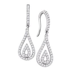 1/2 CTW Round Diamond Teardrop Dangle Earrings 10kt White Gold - REF-35F9M