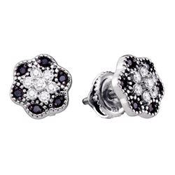 1/3 CTW Black Color Enhanced Diamond Flower Cluster Stud Earrings 10kt White Gold - REF-16N8Y