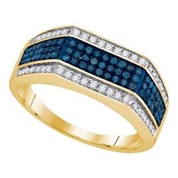 3/4 CTW Mens Round Blue Color Enhanced Diamond Triple Stripe Flat Surface Ring 10kt Yellow Gold - RE