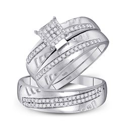 1/2 CTW His & Hers Round Diamond Cluster Matching Bridal Wedding Ring 10kt White Gold - REF-41H9W