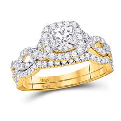 1 CTW Princess Diamond Twist Bridal Wedding Engagement Ring 14kt Yellow Gold - REF-105A5N