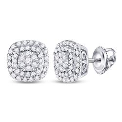 1/2 CTW Round Diamond Cushion Halo Cluster Earrings 14kt White Gold - REF-47W9F