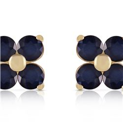Genuine 1.15 ctw Sapphire Earrings 14KT Yellow Gold - REF-21K9V
