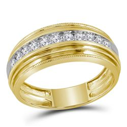 1/2 CTW Mens Round Diamond Milgrain Ridged Wedding Anniversary Ring 10kt Yellow Gold - REF-40H8W