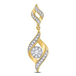 1/3 CTW Round Diamond Fashion Cluster Pendant 14kt Yellow Gold - REF-33X6T