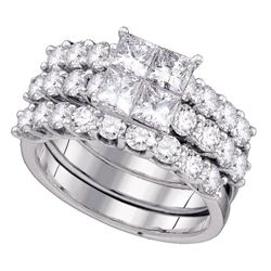4 CTW Princess Diamond 3-Piece Bridal Wedding Engagement Ring 14kt White Gold - REF-432A3N