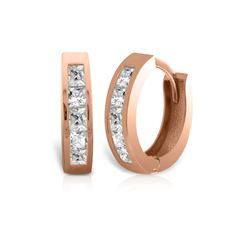 Genuine 1.0 ctw Diamond Anniversary Earrings 14KT Rose Gold - REF-182Y7F