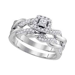 1/3 CTW Princess Diamond Bridal Wedding Engagement Ring 10kt White Gold - REF-34A8N