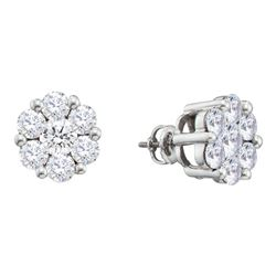 2 CTW Round Diamond Flower Cluster Earrings 14kt White Gold - REF-192X3T