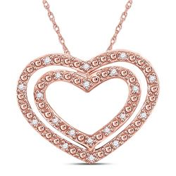 1/12 CTW Round Diamond Double Heart Pendant 14kt Rose Gold - REF-11H9W