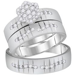 5/8 CTW His & Hers Round Diamond Cluster Matching Bridal Wedding Ring 14kt White Gold - REF-101F9M