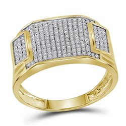 1/2 CTW Mens Round Diamond Rectangle Cluster Ring 10kt Yellow Gold - REF-27H3W