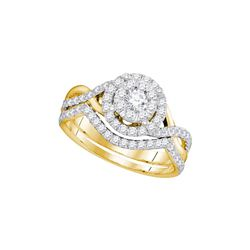 7/8 CTW Round Diamond Bridal Wedding Engagement Ring 14kt Yellow Gold - REF-77F9M