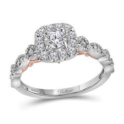 3/4 CTW Round Diamond Solitaire Bridal Wedding Engagement Ring 14kt Two-tone Gold - REF-90M3A