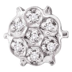 1/20 CTW Round Prong-set Diamond Cluster Stud Earrings 10kt White Gold - REF-5Y9X