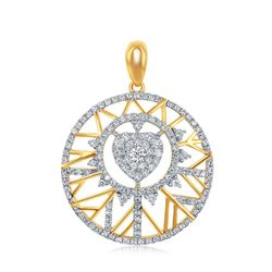 5/8 CTW Round Diamond Modern Starburst Heart Pendant 14kt Yellow Gold - REF-57F5M
