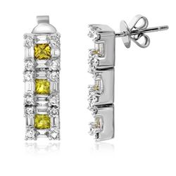 3.19 CTW Diamond Earrings 14K White Gold - REF-158N3Y