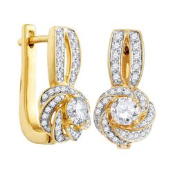 3/4 CTW Round Diamond Swirled Cluster Hoop Earrings 10kt Yellow Gold - REF-68W3F