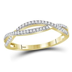 1/5 CTW Round Diamond Crossover Woven Ring 10kt Yellow Gold - REF-18Y3X